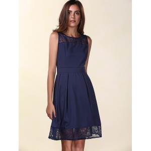 Trendy Round Neck Sleeveless Lace Spliced Solid Color Women's Dress