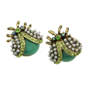 Faux Pearl Insect Earrings -
