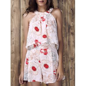 Stylish Round Neck Ruffled Floral Print Top and Short Suit For Women