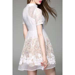 Stand Collar Tiny Floral Lace Spliced Dress -