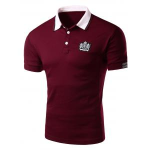 Applique Stripe Trim Polo T-Shirt