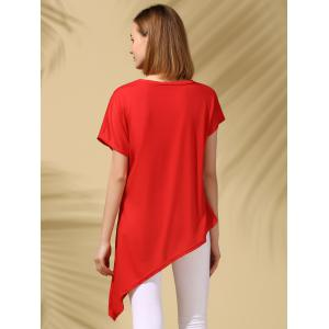 Asymmetric Party Tunic Tee - RED M