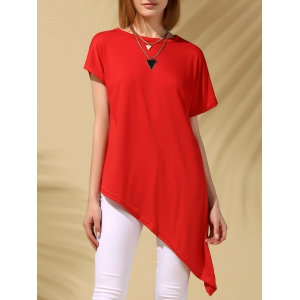 Asymmetric Party Tunic Tee - Red - Xl