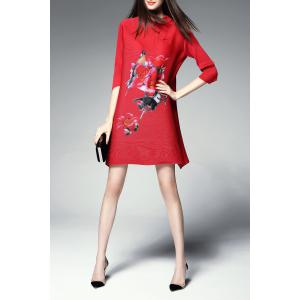 Mini Mandarin Floral Tunic Dress - RED ONE SIZE(FIT SIZE XS TO M)