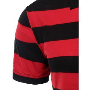 Striped Turn-down Collar Short Sleeves Polo Shirt For Men - RED 3XL