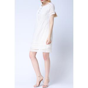 Round Neck Hollow Out Solid Color Dress -
