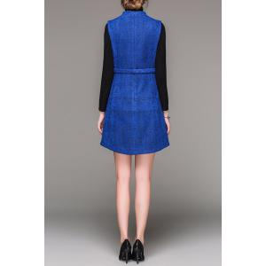 Stand Collar Jacquard Worsted Dress -