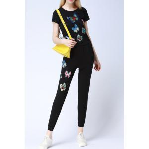 Butterfly Pattern Sequins T-Shirt and Pants Twinset -