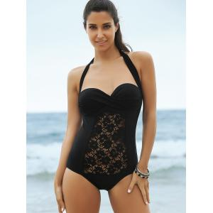 Lace Panel One-Piece Strapless Bathing Suit - BLACK S