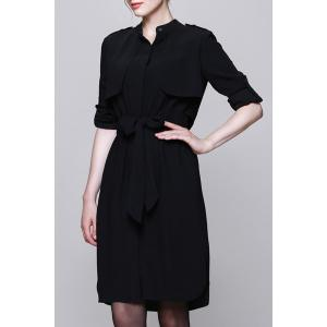 Stand Collar Belted Solid Color Shirt Dress -