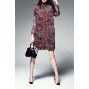 Pleated Ethnic Printed Dress -