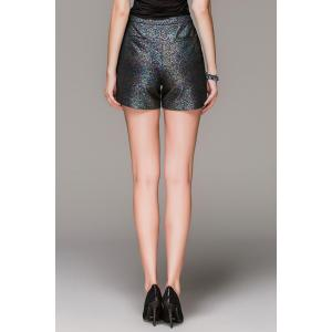 Zippered High Waisted Sequined Shorts -
