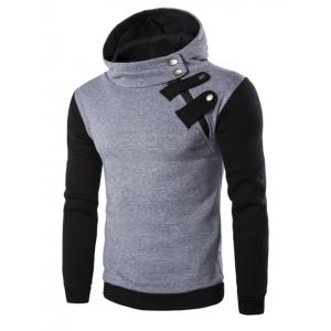 Inclined Zipper Color Block Hooded Long Sleeves Hoodie For Men - Light Gray - Xl