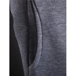 Inclined Zipper Color Block Hooded Long Sleeves Hoodie For Men - LIGHT GRAY XL