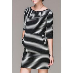 Striped Double Pockets Mini Dress -