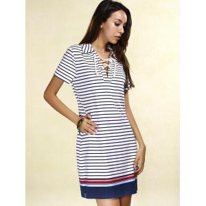 Preppy Lace-Up Short Sleeve Colorful Striped Dress For Women - STRIPE L