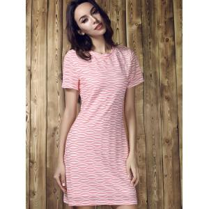 Round Collar Stripe Short Sleeve Dress - COLORMIX S