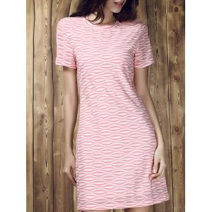 Stripe Short Sleeve A Line T Shirt Dress - Colormix - M