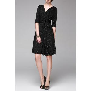 V Neck Polka Dot Print Half Sleeve Dress -