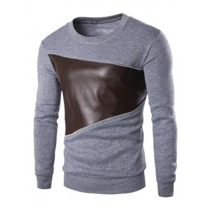 Color Block PU Leather Splicing Round Neck Long Sleeves Sweatshirt For Men - Light Gray - 2xl