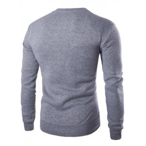 Color Block PU Leather Splicing Round Neck Long Sleeves Sweatshirt For Men - LIGHT GRAY 2XL