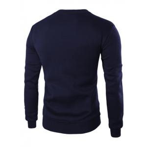 Color Block PU Leather Splicing Round Neck Long Sleeves Sweatshirt For Men - CADETBLUE M