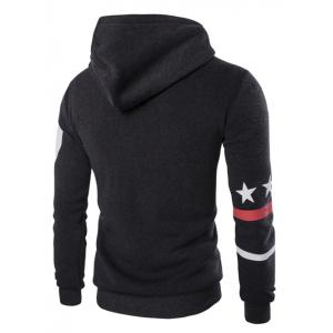 Fashion Hooded Letters Star Stripes Print Long Sleeves Hoodie For Men -