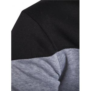 IZZUMI Classic Color Block Front Pocket Hooded Long Sleeves Hoodie For Men - LIGHT GRAY XL