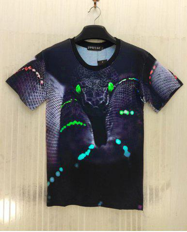 Store Fashion Pullover Snakeskin Printed Men's T-Shirt - XL COLORMIX Mobile