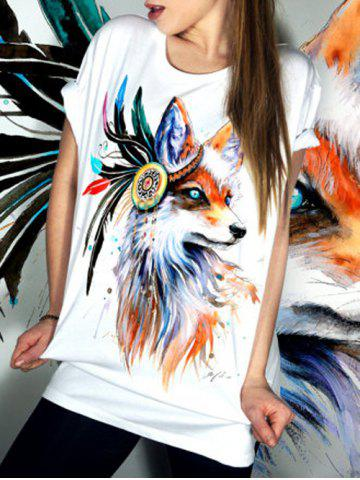 Discount Casual Scoop Collar Short Sleeve Animal Print T-Shirt For Women