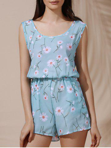 Scoop Collar Sleeveless Daisy Print Chiffon Romper For Women