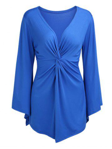 Best Knotted Flare Sleeve Tunic Top BLUE 3XL