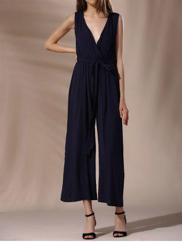 Outfit Fashionable Plunging Neck Tie Belt Wide Leg Jumpsuit For Women
