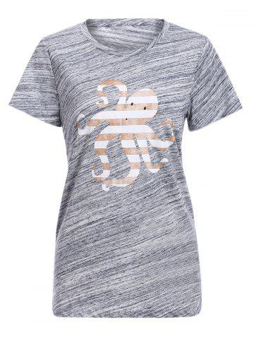 Outfit Trendy Round Collar Short Sleeve Octopus Print Women's T-Shirt