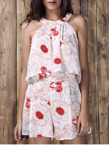 Fashion Stylish Round Neck Ruffled Floral Print Top and Short Suit For Women - L WHITE Mobile