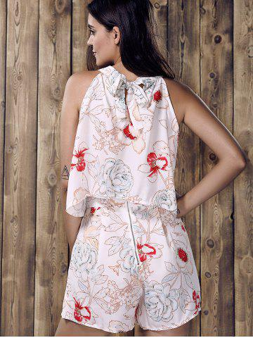 Fancy Stylish Round Neck Ruffled Floral Print Top and Short Suit For Women - L WHITE Mobile