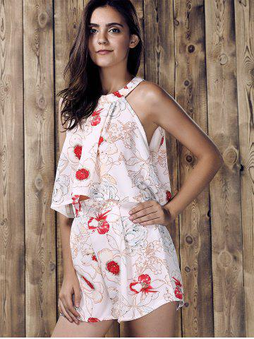 Discount Stylish Round Neck Ruffled Floral Print Top and Short Suit For Women - L WHITE Mobile