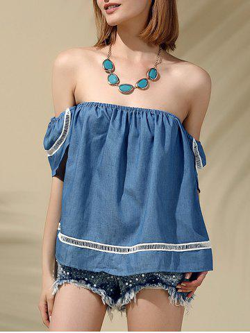 Outfit Attractive Off-The-Shoulder Short Sleeves Denim Blouse For Women