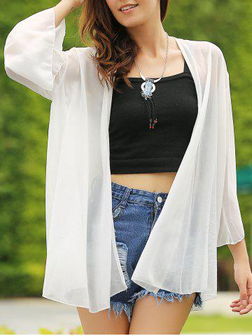 Outfits Casual Collarless Solid Color Batwing 3/4 Sleeve Women's Cover-Up