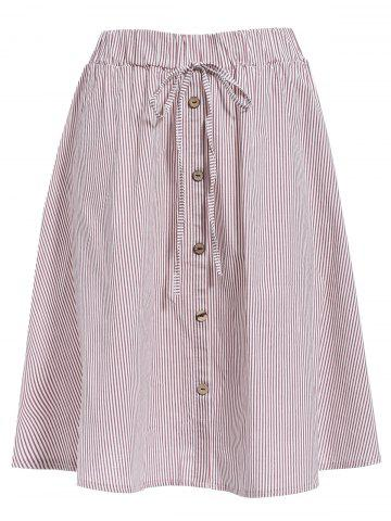 Store Preppy Style Pinstriped A-Line Skirt For Women