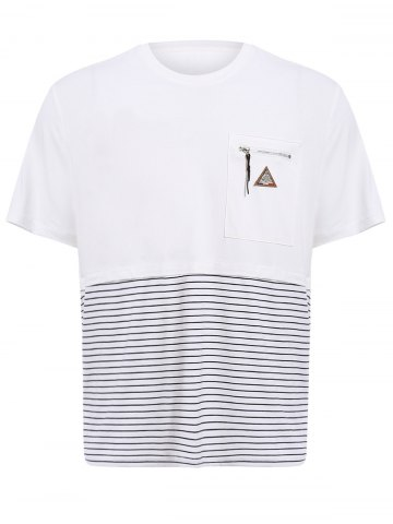 Vogue Round Neck Zipper Color Block Stripes Spliced Short Sleeves T-Shirt For Men - White - Xl