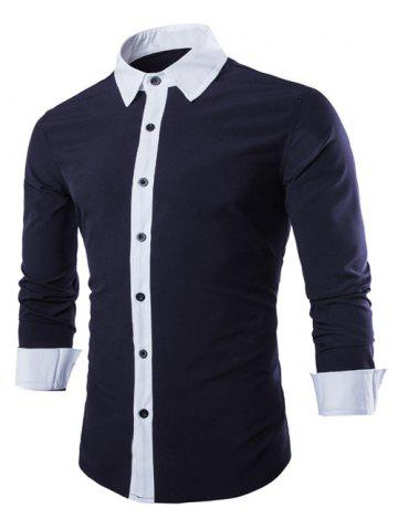 Latest Laconic Turn-down Collar Color Block Top Fly Long Sleeves Shirt For Men