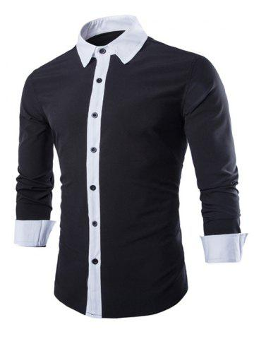 Buy Laconic Turn-down Collar Color Block Top Fly Long Sleeves Shirt Men