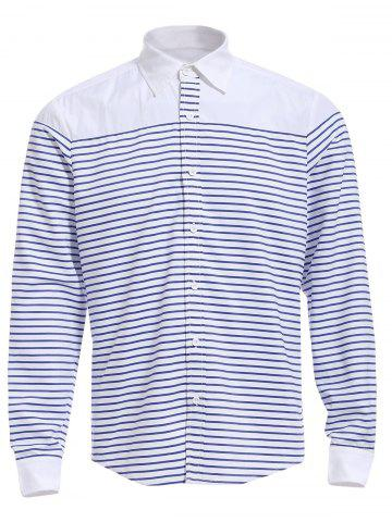 Best Refreshing Turn-down Collar Color Block Long Sleeves Striped Shirt For Men STRIPE M