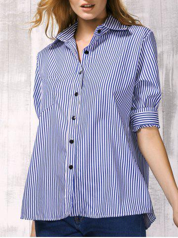 Trendy Brief Shirt Collar Long Sleeve Vertical Striped Women's Shirt BLUE M