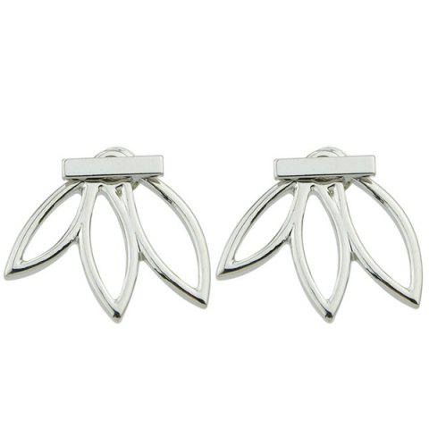 Pair of Alloy Hollow Out Leaf Stud Earrings - SILVER