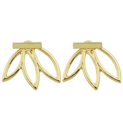 Discount Pair of Alloy Hollow Out Leaf Stud Earrings GOLDEN