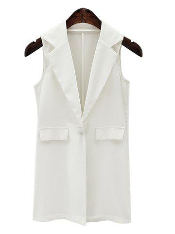 Shop Fashionable Lapel Collar Loose-Fitted One Button Women's Waistcoat WHITE 3XL