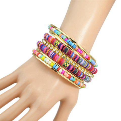 Multilayer Rhinestone Bead Rope Bracelet - Colormix