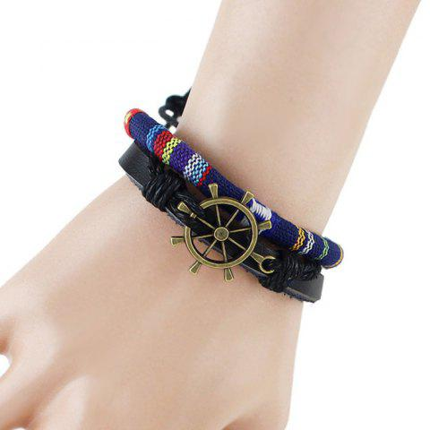 Chic Multilayer PU Leather Rudder Bracelet BLUE